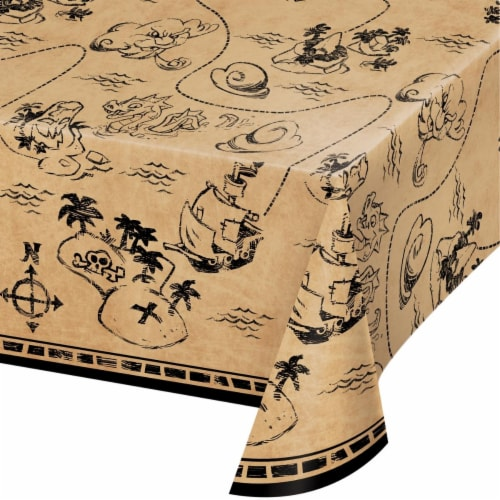 Creative Converting 340211 Treasure Island Pirate Plastic Tablecloth Perspective: front