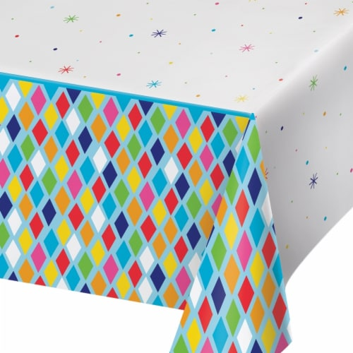 Creative Converting 340215 Bright Birthday Plastic Tablecloth Perspective: front