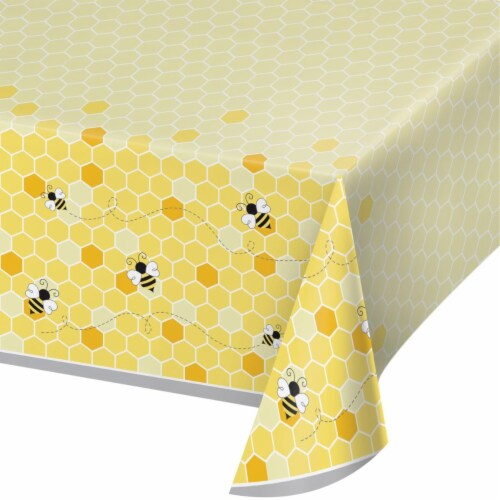 Creative Converting 340216 Bumblebee Baby Shower Plastic Tablecloth Perspective: front
