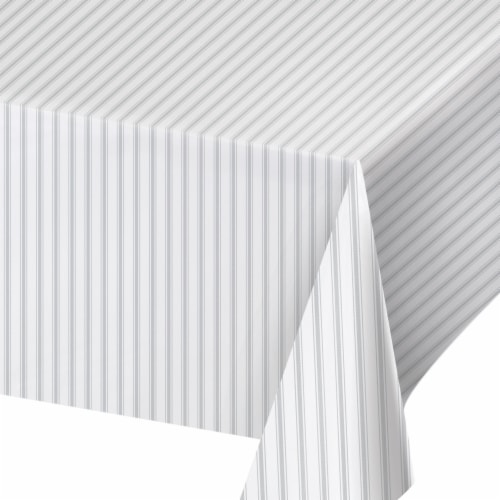 Creative Converting 340218 Gray Ticking Stripe Plastic Tablecloth Perspective: front