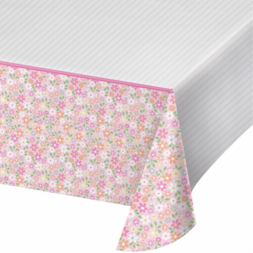 Creative Converting 340219 Farmhouse 1st Birthday Girl Plastic Tablecloth Perspective: front