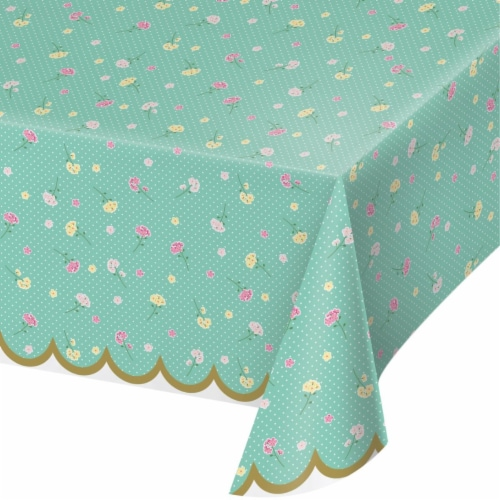 Creative Converting 340229 Floral Tea Party Plastic Tablecloth Perspective: front