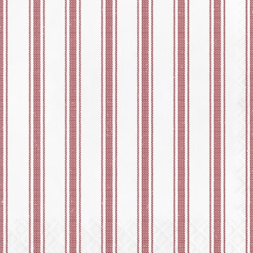 Creative Converting 340498 Red Ticking Stripe Napkins, 16 Count Perspective: front