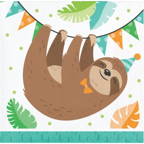 Creative Converting 343825 5 in. Sloth Party Beverage Paper Disposable Napkin, White - Case o Perspective: front
