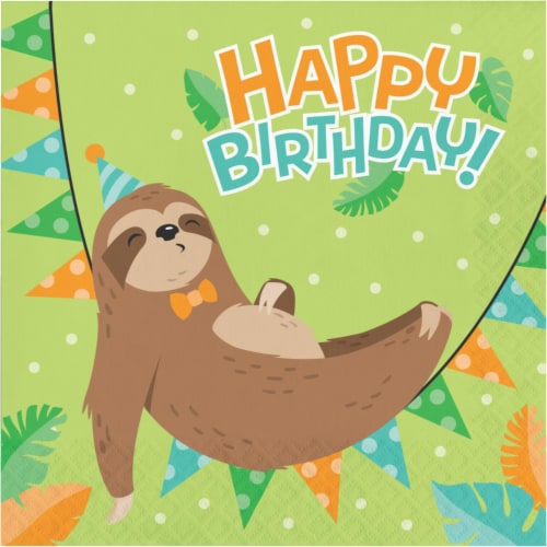 Creative Converting 343827 6.5 in. Sloth Party Disposable Paper Napkin, Green - Case of 12 - Perspective: front