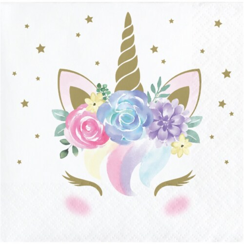 Creative Converting 343830 5 in. Unicorn Baby Shower Beverage Napkins - Case of 12 - 16 Count Perspective: front