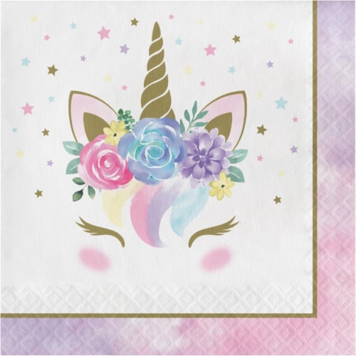 Creative Converting 343831 6.5 in. Unicorn Pastel Baby Shower Napkins - Case of 12 - 16 Count Perspective: front