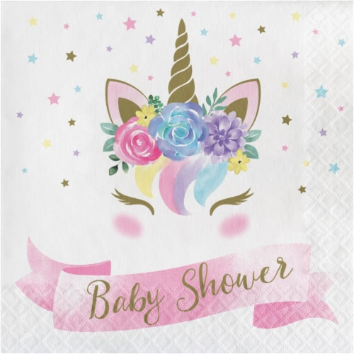 Creative Converting 343832 6.5 in. Unicorn Baby Shower Napkins - Case of 12 - 16 Count Perspective: front
