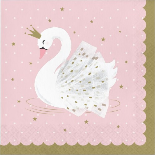 Creative Converting 343836 6.5 in. Stylish Swan Napkins, Pink - Case of 12 - 16 Count Perspective: front