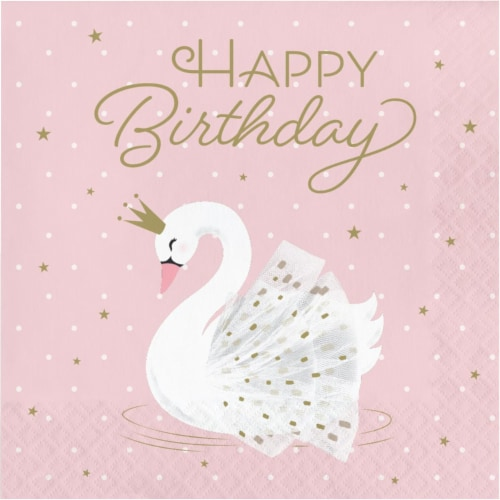 Creative Converting 343837 6.5 in. Swan Happy Birthday Napkins, Pink - Case of 12 - 16 Count Perspective: front
