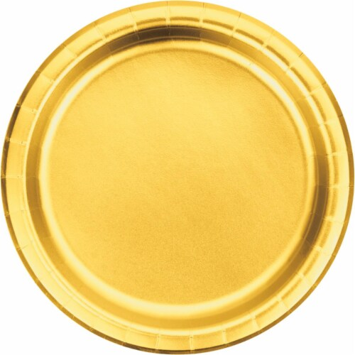 Creative Converting 343841 9 in. Gold Foil Paper Plates - 8 Count - Case of 12 Perspective: front