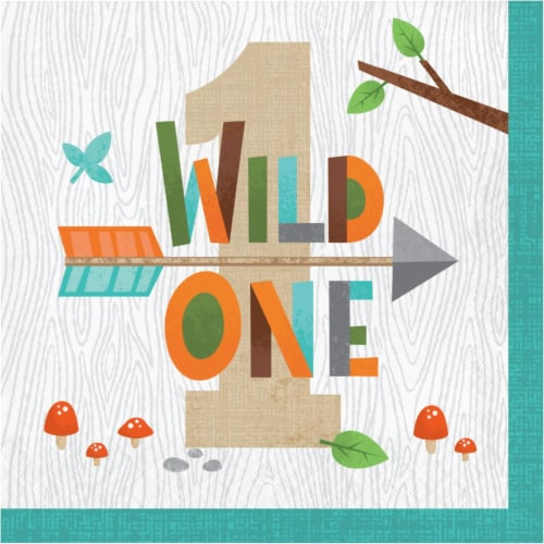 Creative Converting 343948 6.5 in. Wild One-1st Napkins - Case of 12 - 16 Count Perspective: front