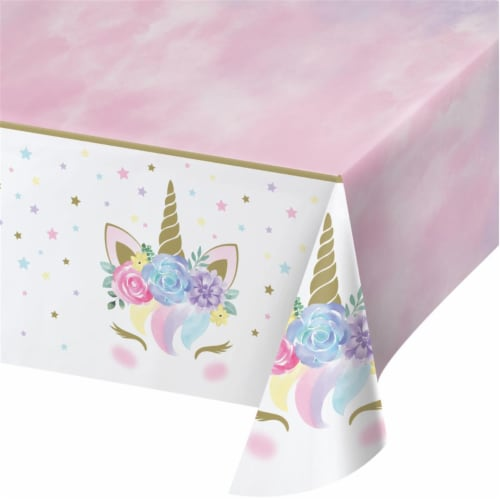 Creative Converting 343962 54 x 102 in. Unicorn Baby Shower Plastic Tablecloth - Case of 6 Perspective: front