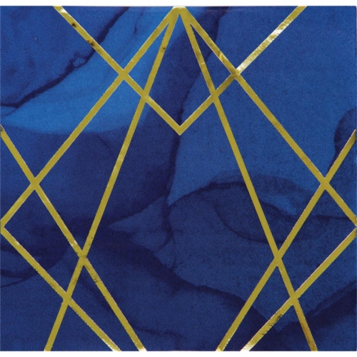 Creative Converting 343970 6.5 in. Navy Blue & Gold Foil Napkin, Case of 12 - 16 Count Perspective: front