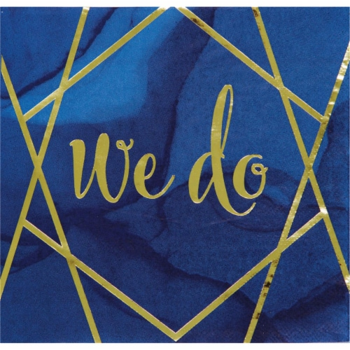 Creative Converting 343971 6.5 in. Navy Blue & Gold Foil We Do Napkins, Case of 12 - 16 Count Perspective: front