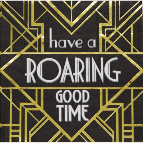Creative Converting 343974 6.5 in. Roaring 20s Roaring Good Time Napkins - Case of 12 - 16 Co Perspective: front