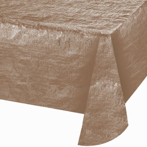 Creative Converting 344358 54 x 108 in. Rose Gold Foil Tablecloth, Case of 12 Perspective: front