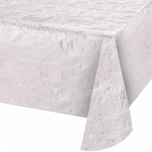Creative Converting 344360 54 x 108 in. Opalescent White Paper Tablecloth, Case of 12 Perspective: front