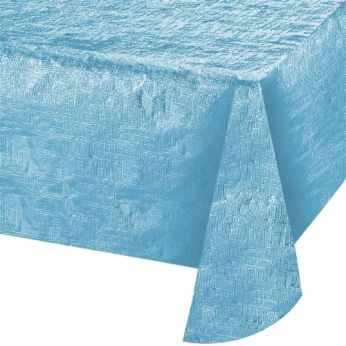 Creative Converting 344361 54 x 108 in. Opalescent Pastel Blue Paper Tablecloth, Case of 12 Perspective: front