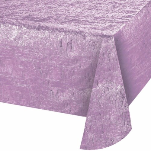 Creative Converting 344362 54 x 108 in. Opalescent Lavender Paper Tablecloth, Case of 12 Perspective: front