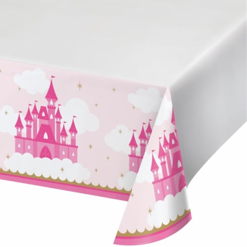 Creative Converting 344447 48 x 88 in. Little Princess Table Cover - 12 Count Perspective: front