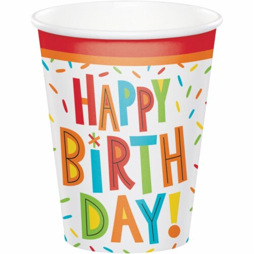 Creative Converting 344459 8 oz Birthday Fun Cup - 96 Count Perspective: front