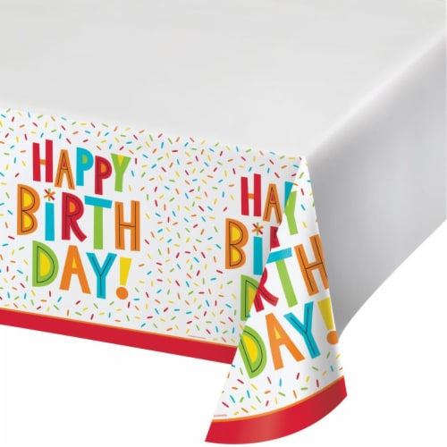 Creative Converting 344460 48 x 88 in. Birthday Fun Table Cloth - 12 Count Perspective: front