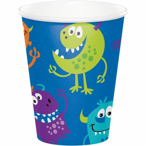 Creative Converting 344476 8 oz Fun Monsters Cup - 96 Count Perspective: front
