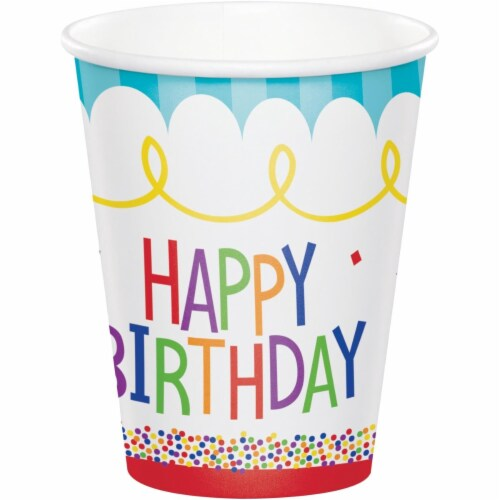 Creative Converting 344480 8 oz Cake Birthday Cup- 96 Count Perspective: front