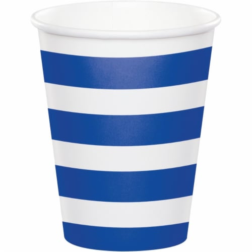 Creative Converting 344482 8 oz Dots & Stripes Cup Cobalt - 96 Count Perspective: front