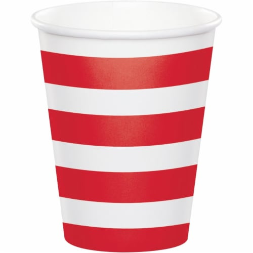 Creative Converting 344483 8 oz Dots & Stripes Cup Classic, Red - 96 Count Perspective: front
