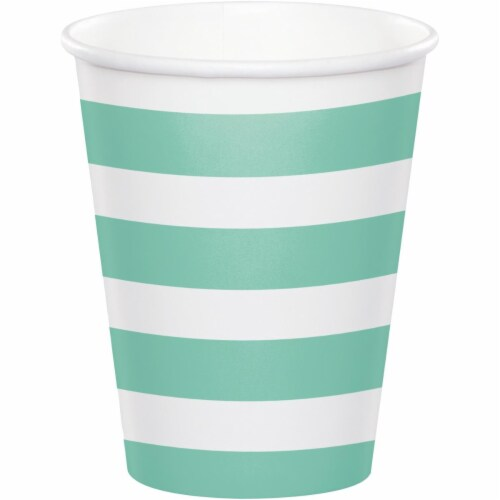 Creative Converting 344485 8 oz Dots & Stripes Fresh Cup, Mint - 96 Count Perspective: front