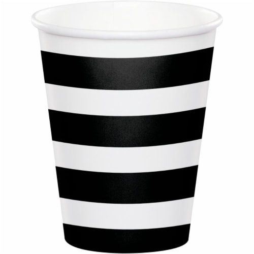 Creative Converting 344486 8 oz Dots & Stripes Cup, Black & Velvet - 96 Count Perspective: front