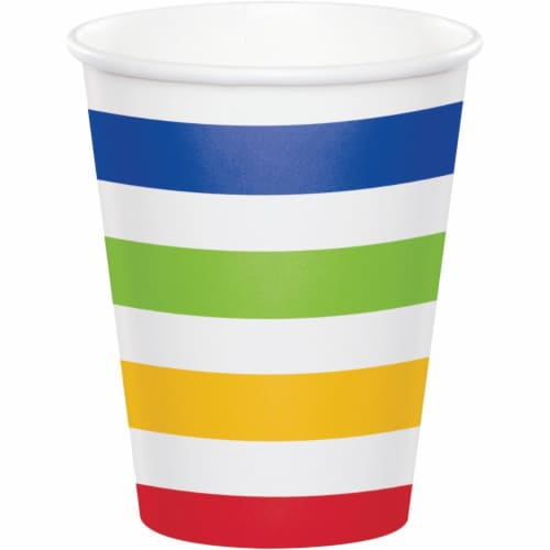 Creative Converting 344487 8 oz Dots & Stripes Cup, Multicolor - 96 Count Perspective: front