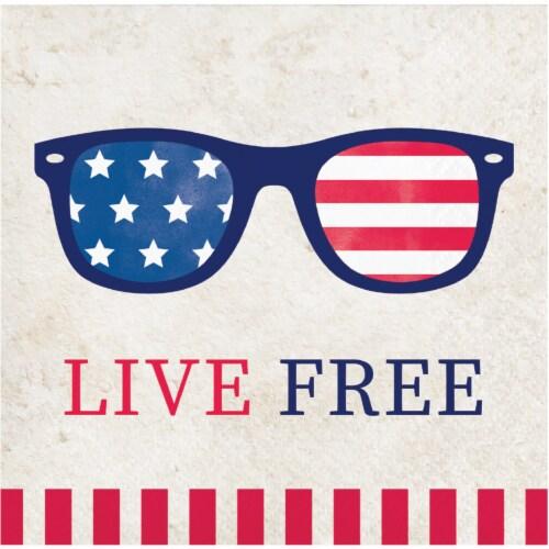 Creative Converting Patriotic Live Free Beverage Napkins Perspective: front