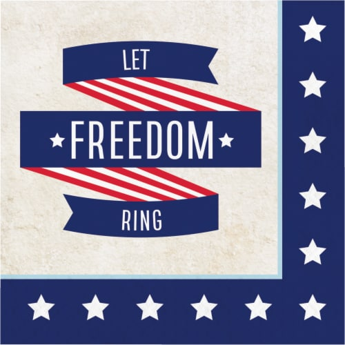 Creative Converting Let Freedom Ring Lunch Napkins - Red/White/Blue Perspective: front
