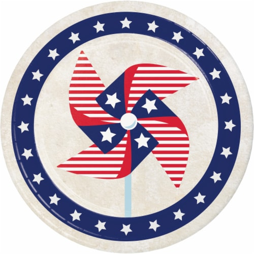 Creative Converting Patriotic Pinwheel Disposable Plates - 8 pk - Red/White/Blue Perspective: front