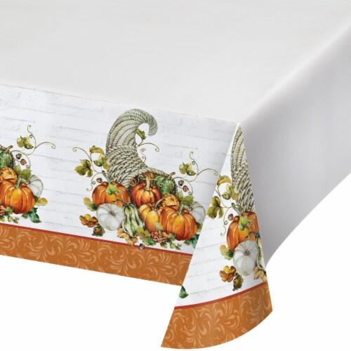 Creative Converting Bountiful Cornucopia Tablecloth - White/Orange Perspective: front