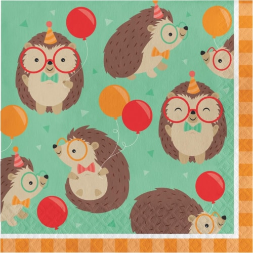 Creative Converting 345892 6.5 x 6.5 in. Hedgehog Party Luncheon 1 by 4 Fold 2-Ply Tissue Nap Perspective: front