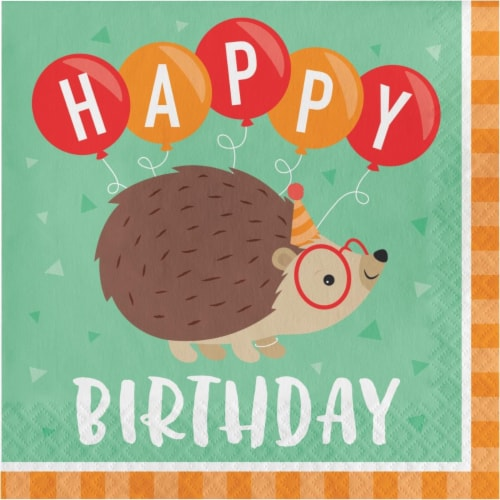 Creative Converting 345893 6.5 x 6.5 in. Hedgehog Party Happy Birthday Luncheon 1 by 4 Fold 2 Perspective: front