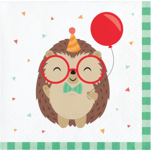Creative Converting 345894 5 x 5 in. Hedgehog Party Beverage 1 by 4 Fold 2-Ply Tissue Napkins Perspective: front