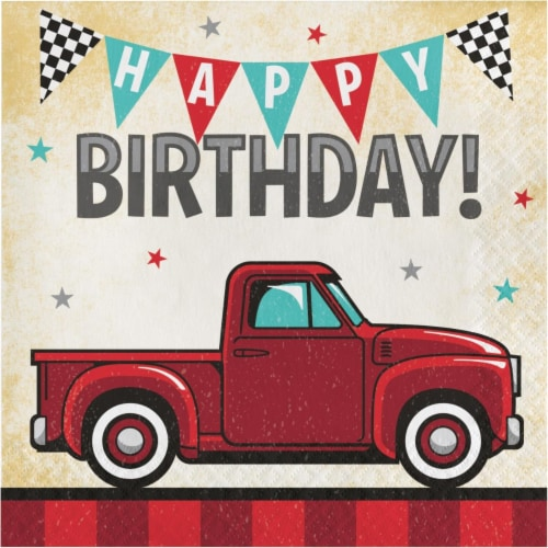Creative Converting 345897 6.5 x 6.5 in. Vintage Truck Happy Birthday Luncheon 1 by 4 Fold 2- Perspective: front