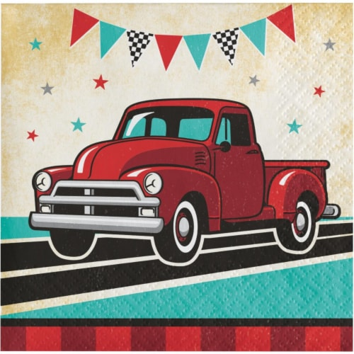 Creative Converting 345898 5 x 5 in. Vintage Truck Beverage 1 by 4 Fold 2-Ply Tissue Napkins, Perspective: front