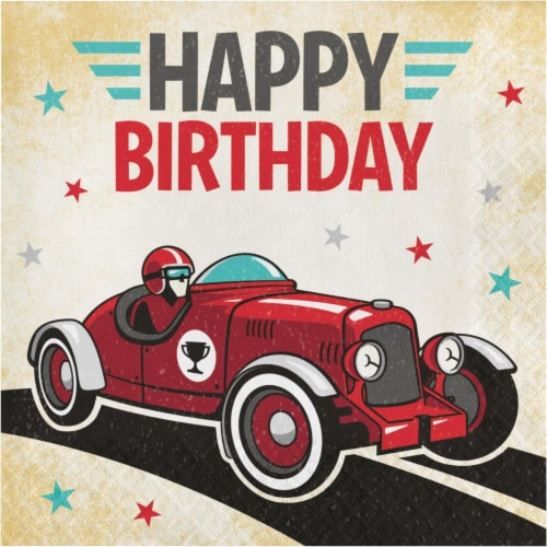 Creative Converting 345901 6.5 x 6.5 in. Vintage Race Car Happy Birthday Luncheon 1 by 4 Fold Perspective: front