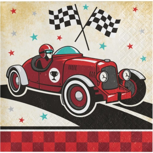 Creative Converting 345902 5 x 5 in. Vintage Race Car Beverage 1 by 4 Fold 2-Ply Tissue Napki Perspective: front