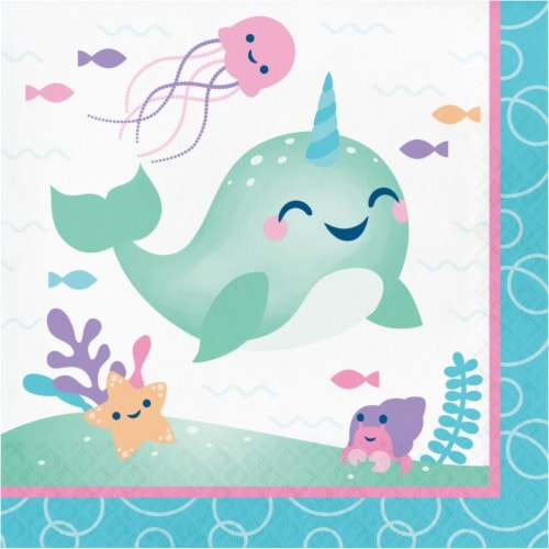 Creative Converting 345905 6.5 x 6.5 in. Narwhal Party Luncheon 1 by 4 Fold 2-Ply Tissue Napk Perspective: front
