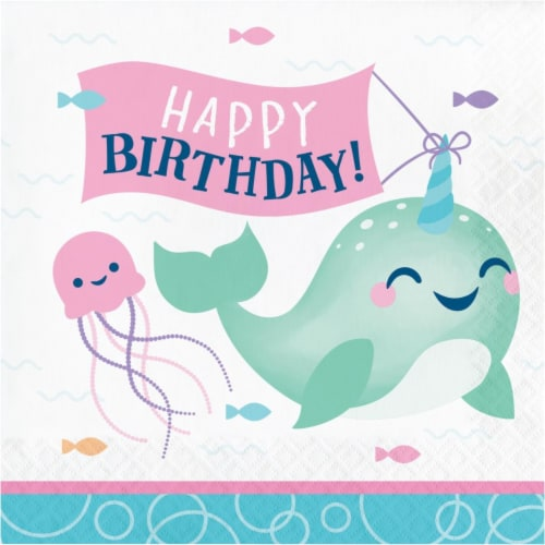 Creative Converting 345907 6.5 x 6.5 in. Narwhal Party Happy Birthday Luncheon 1 by 4 Fold 2- Perspective: front