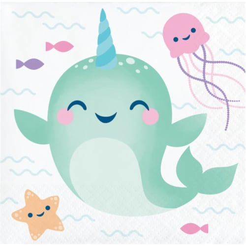 Creative Converting 345908 5 x 5 in. Narwhal Party Beverage 1 by 4 Fold 2-Ply Tissue Napkins Perspective: front