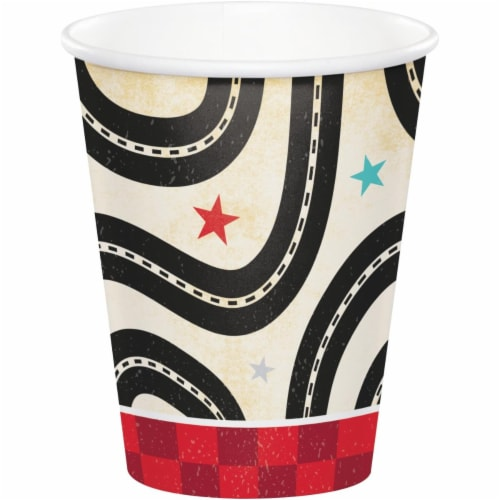 Creative Converting 345970 9 oz Vintage Race Car Paper Cups - 96 Count Perspective: front