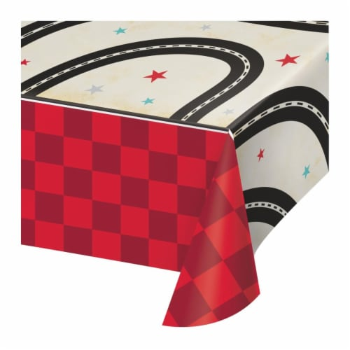 Creative Converting 345971 54 x 102 in. Vintage Race Car Paper Tablecloths - 6 Count Perspective: front